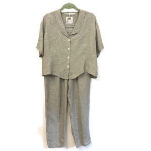 FLAX. Shirt ( med) and pant ( small) set.
